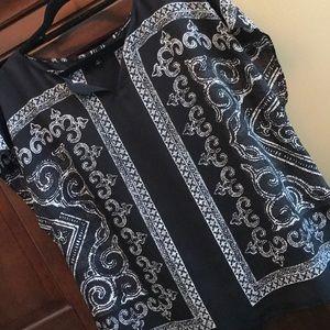 Black scarf blouse 1X